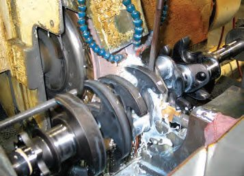 Main journals are ground with the crankshaft centerline positioned concentrically. Rod journals are ground with the crankshaft centerline mounted eccentrically, placing the centerline of the rod journals in a centered axis.
