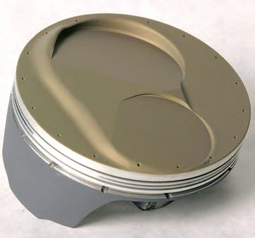 All of the coating shops offer thermal barrier dome coating and anti-friction skirt coatings. Here's an example of a piston treated with a thermal barrier coating on the dome and moly-coating on the skirts.