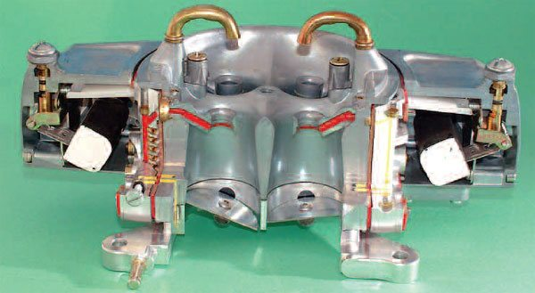 This cutaway of a Barry Grant Demon carb shows the main jet delivery system in red. Although all this may look complex, understanding the basic principles involved unravels the complexity to a great degree.
