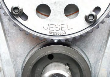 Alignment dots are found on both gears. The cam gear offers an adjustment range of as much as 8-degrees advance or 8-degrees retard.