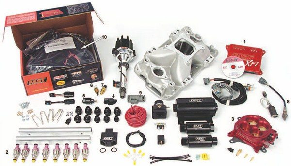 Fig. 1.6. This complete MPFI kit from FAST, designed for small-block Chevys, supports engines up to 1,000 hp. Note that it includes an intake manifold complete with injector bungs in the runners, fuel injectors, fuel rails, fittings, a distributor with cam sensor, fuel pump, regulator, fuel filters, and all sensors. A kit like this really does take the guesswork out of the equation. The system includes the following: engine control unit (1), fuel injectors (2), throttle body (3), throttle position sensor (4), idle air control valve (5), intake air temperature sensor (6), coolant temperature sensor (7), oxygen sensor (8), manifold absolute pressure sensor (9), and wiring harness (10). (Photo Courtesy FAST)