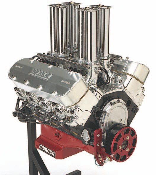 Fig. 1.15. Most enthusiasts agree that nothing tops the looks of velocity stacks. This 540-ci big-block Chevy is sporting a complete Hilborn EFI system. It has the classic stack look with all of the benefits of modern electronic fuel injection. This engine was built and tuned by Beck Racing Engines.