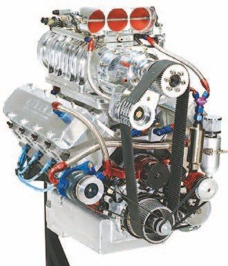 Fig. 1.17. If you're looking for eye candy, this eight-injector EFI hat from BDS fits the bill. Sitting atop this 572-ci big-block Chevy with a setback 14-71 BDS blower, this combo makes more than 1,580 hp on C16. Not only does it look awesome, it functions exactly like those you see used in the Top Fuel classes. Each of the red throttle blades can support up to 600 hp. This engine was built and tuned by Beck Racing Engines.