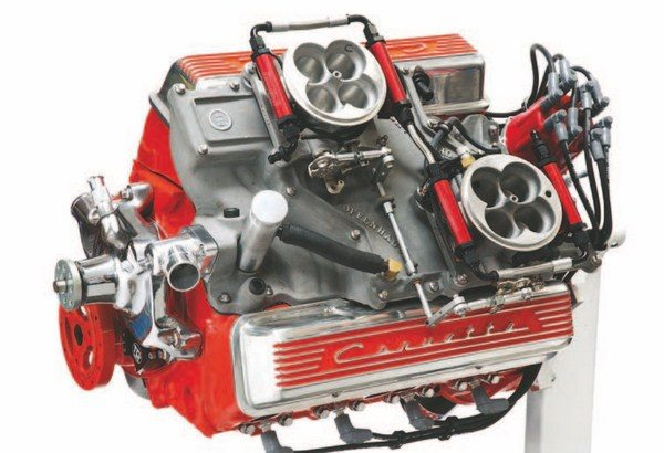 Fig. 2.2. This .030-over 327-ci small-block Chevy sports a pair of FAST EZ EFI throttle bodies on an Offenhauser Cross Ram manifold. A setup like this provides that classic look with the performance of modern fuel injection! (Photo Courtesy Ed Taylor)