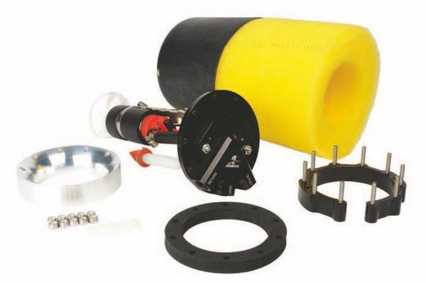 Fig. 2.4. This Phantom 340 Stealth Fuel System from Aeromotive allows you to add an EFI-specific fuel pump inside your factory tank. The kit includes the 340 Stealth fuel pump, baffle, pre-filter, and all parts required to install it. The kit supports naturally aspirated EFI engine combinations making up to 850 hp or forced-induction EFI combinations up to 700 hp. (Photo Courtesy Aeromotive)