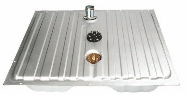 Fig. 2.7. This Stealth Fuel Tank for 1964–1968 Ford Mustangs from Aeromotive allows you to remove the factory tank and install one that is completely EFI specific. The kit includes a 340 Stealth fuel pump, pre-filter, internal baffling, sending unit, flanged filler-neck adapter, universal rubber-filler neck, and three ports for the outlet, return, and vent. (Photo Courtesy Aeromotive)