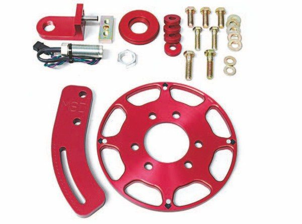 Fig. 2.18. A crank trigger is an inexpensive way to get rock-solid timing. MSD offers kits for numerous applications. Shown here is their part (PN 8633) for small-block Chryslers (see Chapter 6 for more details). (Photo Courtesy MSD Performance)