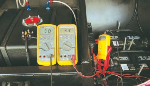 Fig. 2.20. You can quickly and easily determine the health of your charging system with two DMMs and a Hall effect DC ammeter accessory, such as the Fluke i410.