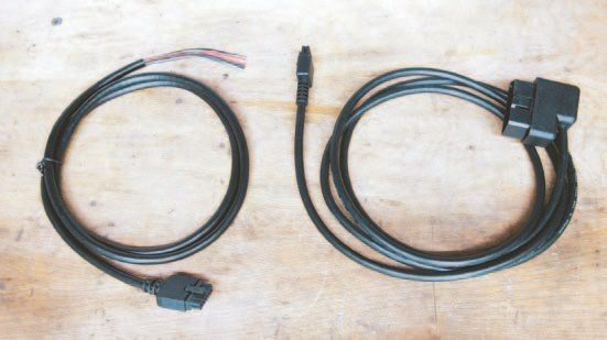 Fig. 3.10. The analog IN/OUT cable (left) allows you to monitor RPM, output the wideband signal to an external device, as well as connect any 0-5 VDC accessory that you may want to datalog, and this includes TPS, MAP, MAF, etc. The OBD-II cable for the LM-2 (right) allows you to use the LM-2 to monitor or datalog via the OBD-II port of any late-model vehicle.