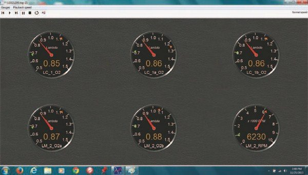 Fig. 3.12. The LM-2 also allows you to display data in the form of gauges, both during run and when viewing a datalog as shown here. As you can see, the A/F ratio among five different oxygen sensors is nearly identical at WOT.