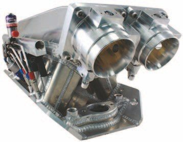 Fig. 3.15. If you're a nitrous fan, you can certainly appreciate the workmanship of this custom-built dual-throttle-body Hogan Manifold and Nitrous Pro Flow fogger system. A Holley Dominator ECU manages engine ignition timing, A/F ratio, and a single-stage wet fogger system. (Photo Courtesy David Segunda/Wilson Manifolds)