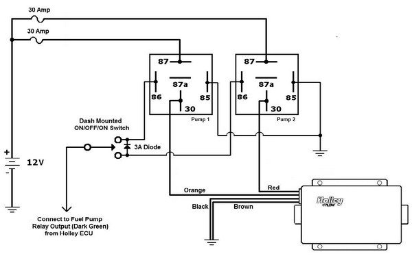 Fig. 6.21. I used a single SPDT centeroff switch to control both halves of the Holley Dominator fuel pump. In one position, only one half of the pump is used. In the other position, both halves of the pump are used. (In Chapter 7, we interface the ECU to this to automate the circuit.)