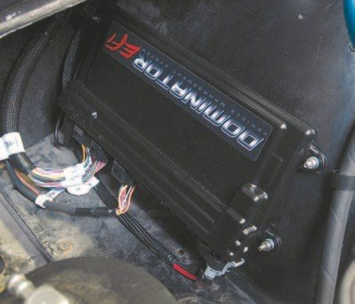 Fig. 6.54. We mounted the ECU with the stainless hardware Holley included. This is obviously the number-one giveaway that Bill's Olds is now fuel injected.