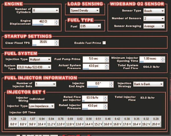 Fig. 6.55. ENGINE PARAMETERS: You need to set up the engine parameters in the Holley V2 software. This basic information is necessary for the ECU to function correctly with your specific engine combination.