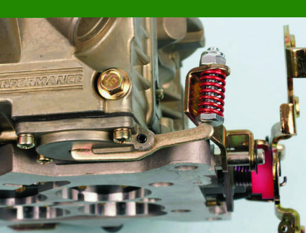 The accelerator pump lever is activated by an extension of the throttle lever. Use the spring-loaded screw for fine adjustment at the pump lever contact point.