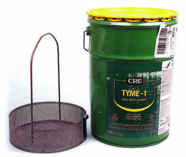 A superior cleaning solvent example is CRC Industries' TYME-1, available in 1- or 5-gallon buckets. A dedicated cleaning basket (shown) drops inside a 5-gallon bucket. The tall handle on the basket prevents the need to retrieve parts with your hands.