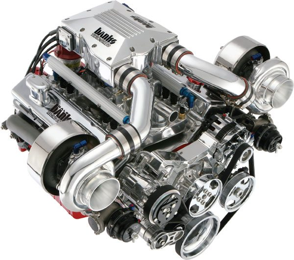 The Banks Twin Turbo Small Block Chevy is perhaps the world's most recognizable twin-turbocharged engine assembly. (Courtesy Gale Banks Engineering)