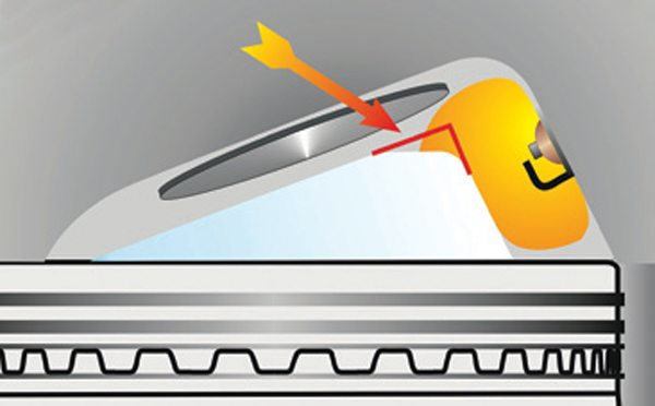 Fig. 12.12. If the dome intrudes too far into the combustion chamber, it inhibits flame travel. Out of the box, many pistons are shaped like the line indicated by the arrow. This needs to be removed as shown to promote more effective combustion.