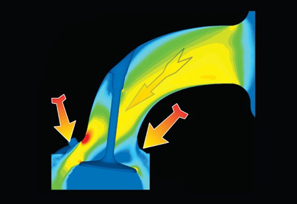 Fig. 10.1. Here is just one of a series of computational fluid dynamics (CFD) illustrations from Dr. Rick Roberts of Edelbrock. The port is a prototype for one of Edelbrocks's high-performance heads.