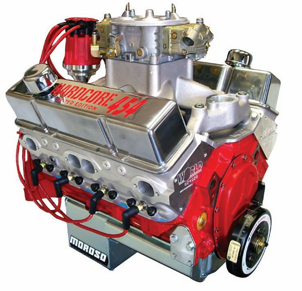 How does this World Products Hardcore 454 Chevy small-block cram all that cylinder volume into the same basic block architecture as a 283 Chevy? The bore is 4.250 inches and the stroke is 4.00 inches. Do the math.