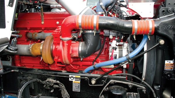 This is the Cummins ISX engine in a Kenworth truck application. This late-model, emissions-certified commercial diesel engine uses a Holset variable geometry turbocharger to help create outputs from 385 hp and 1,550 ft-lbs peak torque to 600 hp with 1,850 ft-lbs, both at 1,200 rpm.