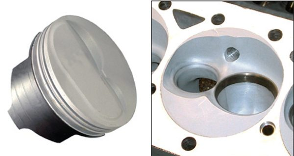 Fig. 12.18. Note the minimal raised crown on this Calico-coated Lunati piston (left). It was used in a 441-ci small-block Chevy to achieve a 13:1 CR in conjunction with this chamber form (also coated) in conventional 23-degree heads (right). On 100-octane fuel, it delivered 600 ft-lbs and more than 700 hp, and was street drivable.