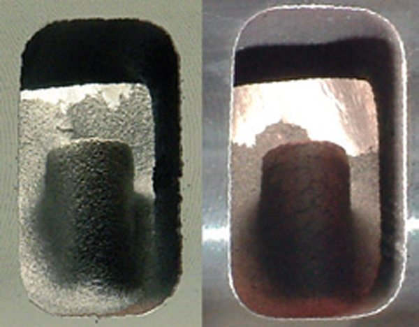 Fig. 10.19. Unless the two are side by side, it is hard to see the difference in port size between the 170-cc port (left) and the 195 (right).