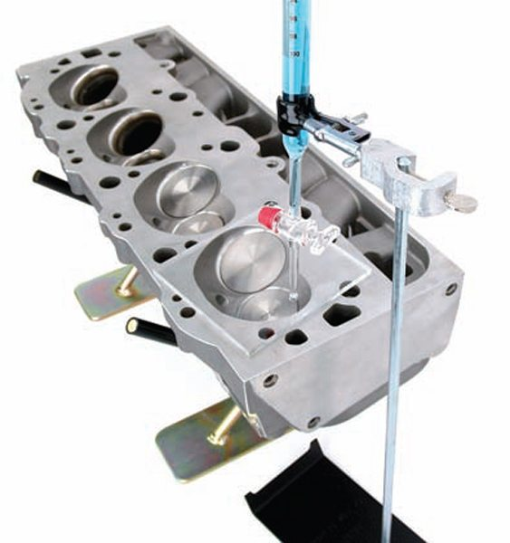 A graduated burette kit with stand is essential for cc'ing intake ports, combustion chambers, and other small volumes.