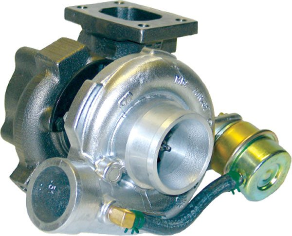 This GT2252 turbo runs an internal wastegate. Note boost tap on compressor cover leading to the wastegate actuator canister. (Courtesy Honeywell Turbo Technologies)