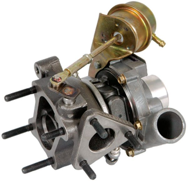 The internal wastegate is operated by an actuator that is connected to a flapper valve arm on the turbine housing. When the pressure overcomes the spring pressure, the valve opens. (Courtesy Honeywell Turbo Technologies)