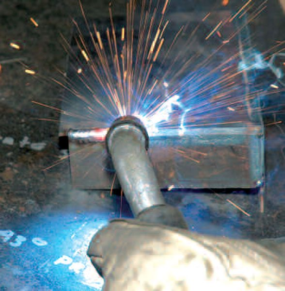 Welding is just the process of melting the steel to a white-hot liquid form and allowing it to cool in a single piece.