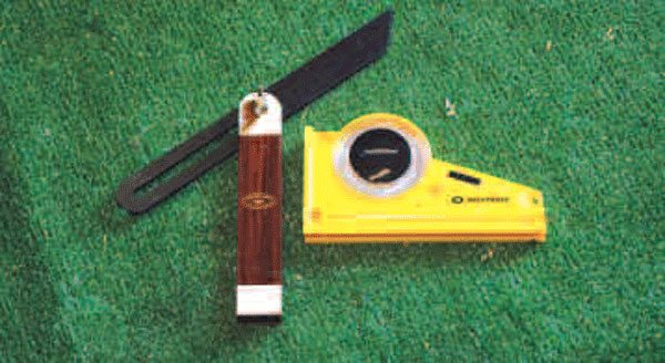 A carpenter's angle finder is perfect for matching existing angles, and a protractor such as this laser unit is good for determining the degrees of an angle.