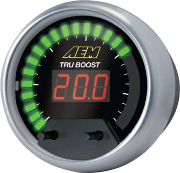 The Tru-Boost Gauge from AEM is an electronic boost controller that combines the simplicity of a manual boost controller with the added ease of adjusting boost levels through a gauge interface. (Courtesy AEM)