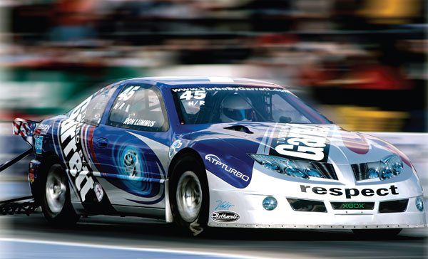 This Garrett-sponsored 2003 Pontiac Sunfire, owned by Gil and Stephen Bothwell of Torrance, California, runs in the NHRA Hot Rod class. Team Bothwell was the 2003, 2005, and 2006 Hot Rod champ. This celebrated car is the current Hot Rod class record holder with a fastest pass of 7.70 seconds at 191 mph using a Garrett GT42R turbocharger. (Courtesy Honeywell Turbo Technologies)