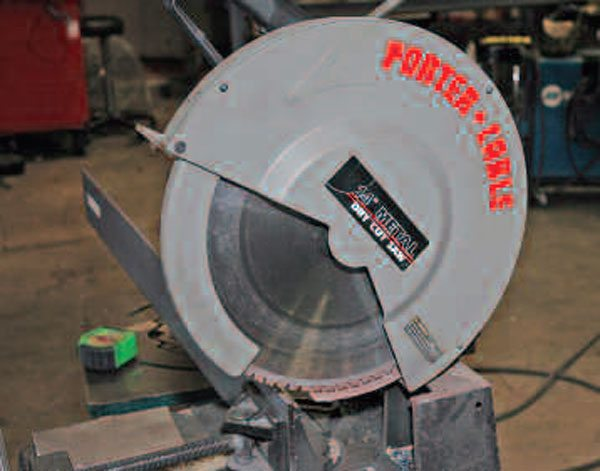A proper metal-cutting chop saw works best to make straight cuts in tube and box and small sections of steel plate.