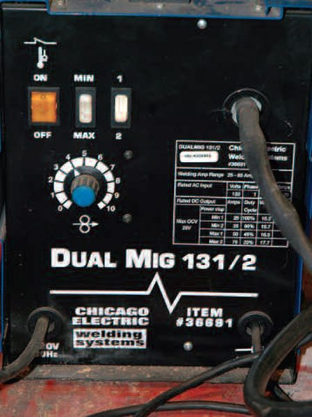 The most basic welders have four power settings selected through two rocker switches. You can also set the wire speed separately.