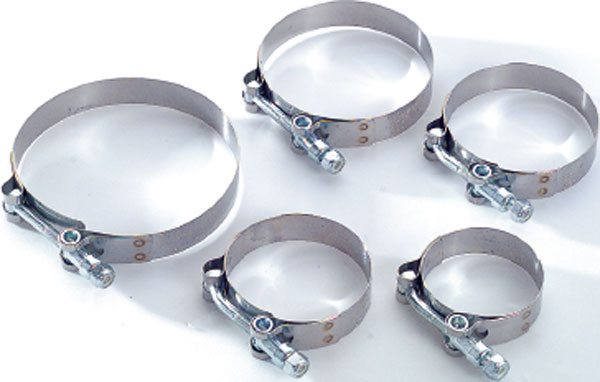 This is a T-bolt clamp. This is a very strong clamp, much stronger than worm-gear type clamps. These T-bolt clamps from Turbonetics use an inner band that protects the hose from extrusion as the clamp is tightened. (Courtesy Turbonetics)