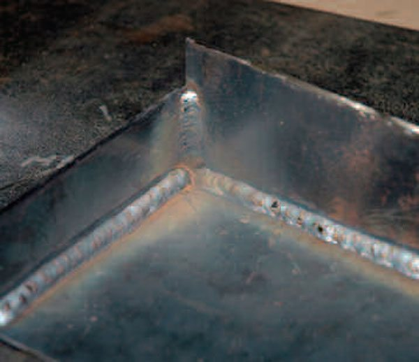 A fillet weld has a roughly triangular cross section and can be used when working on an inside angle.