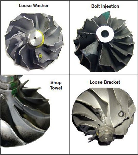 Here are some failed compressor wheels and the causes that created the varying kinds of damage to the inducer blades. (Courtesy Honeywell Turbo Technologies)