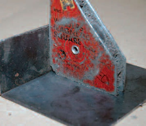 Use your welder's magnet to keep your 90-degree angles constant while you tack your work together.