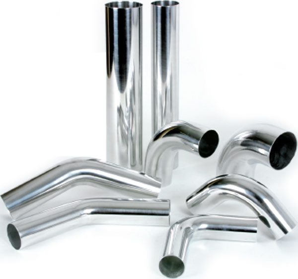 Vibrant Performance offers a complete range of boost tubes in straight sections, as well as 180, 90, and 45-degree bends in both polished and natural aluminum finish sections for the do-it-yourselfer. (Courtesy Vibrant Performance)