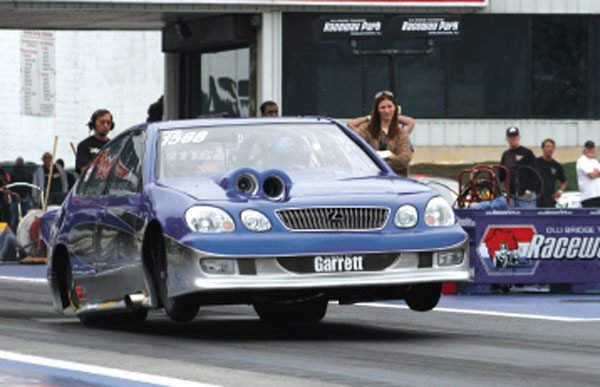 Justin Humphries' 2005 NHRA Modified National champion uses twin Garrett GT40 turbos. Note the Lexus GS300 gets its intake air right through the hood. There's no through-the-grille intake in this system. Just because it's turbocharged doesn't mean that cool intake air isn't necessary.
