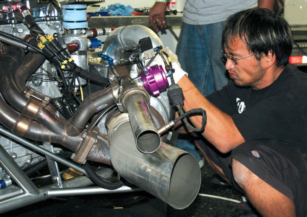 Matt Scranton's Pro Rear Wheel Drive Toyota has what would appear to be a turbo that's way too big for it's 6-cylinder engine. However, this car leaves as hard as any NHRA Pro-Stock by spooling up the Garrett GT55 with a very aggressive anti-lag strategy.