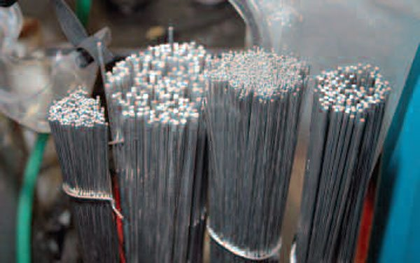 These aluminum TIG welding rods show all four sizes of commonly used rod from 1/16 inch to 1/8 inch. They are sold by the pound and generally come in 4043 and 5356 alloys.
