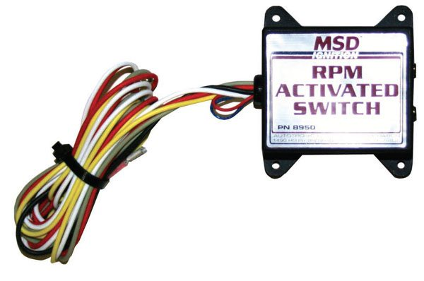 This RPM-activated switch from MSD plugs into the MSD box and uses RPM chips to control when to provide carbon dioxide to the shifter. If you want to change shift RPM, just change to another chip.