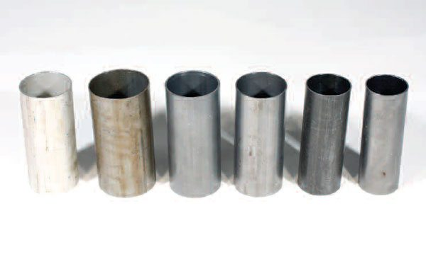 There are tubes with various diameters and wall thicknesses that can be used for a driveshaft. The piece on the far right is aluminum; all the others are steel. These variations provide strength and critical speed requirements for a particular vehicle application.