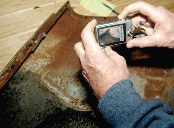 Always record the exact construction of panel areas that you need to replicate. Written notes and photographs may help enormously, after you have cut out and destroyed original sections of these panels. Without good records, what seemed easy to remember may become difficult as time passes.