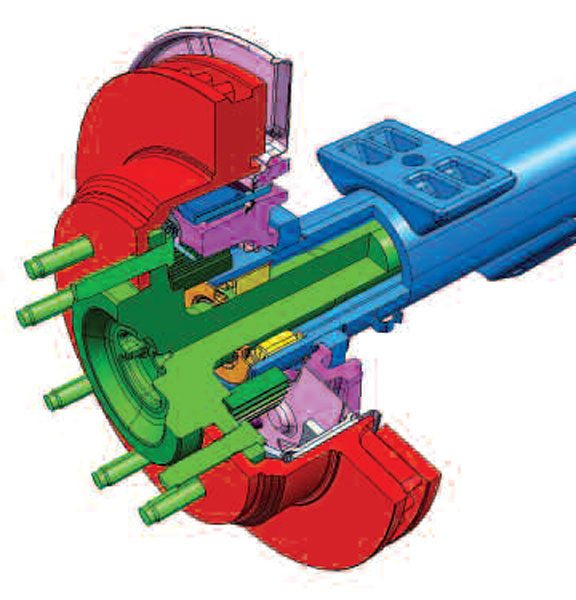 Here you can see the typical semi-float wheel end bearing arrangement. The wheel end bearing spans across the housing and the axle shaft. The bearing (yellow) and spans the axle housing (blue) and the axle shaft (green). (Dana Holding Corporation)