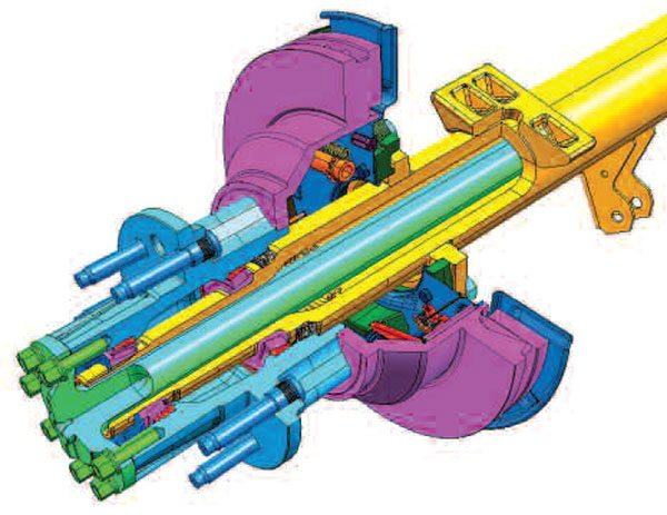 In this cross section view of a typical full-float wheel end, the axle shaft can be removed from the axle housing while the wheel is still on. The vehicle load is transferred from the wheel hub (light blue) through the bearing (purple) to the axle tube (yellow). The axle shaft is isolated from vehicle loads. (Dana Holding Corporation)