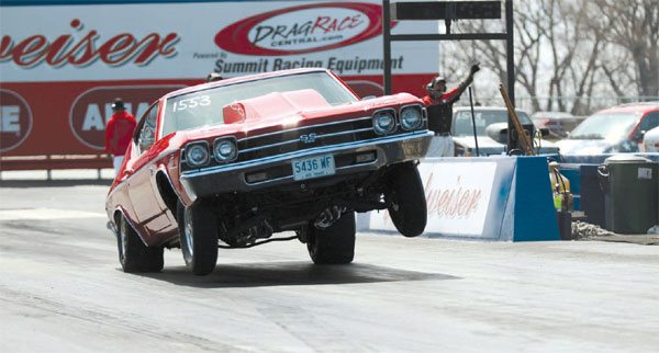 This Chevelle shows what a high-HP GM A-Body car can do at the starting line without the necessary modification. An anti-roll bar would greatly improve this car's launch.